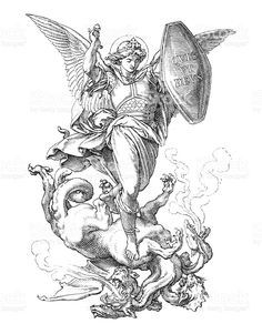 St. Michael the Archangel fighting dragon royalty-free stock illustration