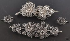 $113 2 Antique Floral Silver Filigree Pins/Brooches & 1 Pair of Pierced Earrings
