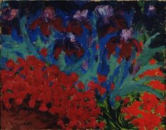 Emil Nolde (German, 1867-1956): Blue and Violet Flowers, 1916.  Museum of Modern Art, New York, NY. Oil on burlap, 26 1/4 x 33 1/4 inches (66.6 x 84.5 cm). © Nolde Stiftung Seebüll, Germany. This artwork or photograph is posted in accordance with fair use principles.  #IRequireArt @irequireart #art #german #MoMA #emilnolde  IRequireArt.com