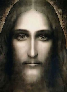 Jesus face on the shroud of Turin.
