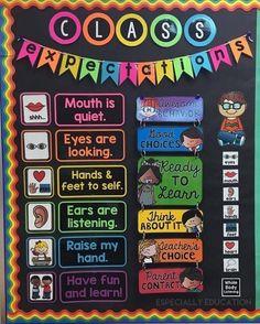 Kindergarten Classroom Setup, Classroom Organisation, 2nd Grade Classroom, Classroom Bulletin Boards, Classroom Rules, Classroom Themes, Preschool Bulletin, Classroom Displays, Classroom Management