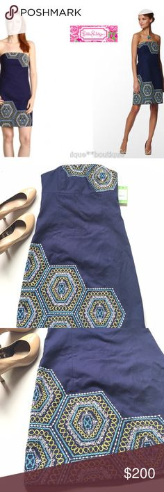 """🆕 Listing! NWT Lilly Pulitzer """"Bowen"""" dress Attend your next evening event with a statement! Modern & simplistic in taste, with an embroidered appliqué accented strapless chest and bottom hem. Skirt is lined. Dark navy blue in color. Absolutely brand new. Length is 28.5in. and bust is 14.5in. Boning in bodice. Shell: 98% cotton & 2% spandex. Lining: 100% cotton. Lilly Pulitzer Dresses Strapless"""
