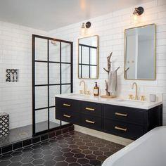 California Modern - Unique Contemporary Bathroom Design by CM Natural Designs Black And Gold Bathroom, White Bathroom, Small Bathroom, Modern Bathroom Tile, Master Bathroom, Bathroom Double Vanity, Black Bathroom Floor, Black Tile Bathrooms, White Shower