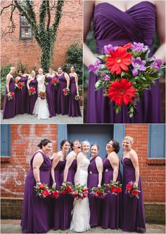 Purple and red wedding and fun bridesmaids with the bride! So cute! Click to view the entire wedding!
