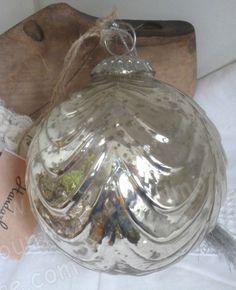 Große Glaskugel,Bauernsilber,Glas Silber,Silberglas, Shabby, Antik-Finish, 10 cm