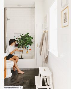 Giving our Ficus Tree a bath in our primary bathroom! | via Yellow Brick Home Thanks For The Tip, Ficus Tree, Brick, Bathroom, Yellow, House, Instagram, Washroom, Ficus
