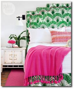 A Christopher Farr palm-frond print dominates this Miami guest house's only bedroom Toronto-based designer Anne Hepfer