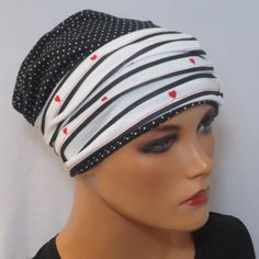 2 tlg. Combiset BEANIEMÜTZE with headband ideal for chemotherapy or as chices accessory head & collar design chemo cap