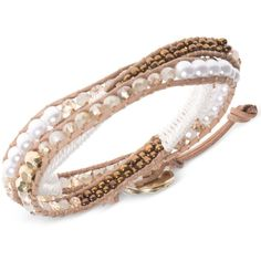 lonna & lilly Gold-Tone White Beaded Leather Wrap Bracelet (525 MXN) ❤ liked on Polyvore featuring jewelry, bracelets, white, beaded wrap bracelet, leather bangles, gold colored jewelry, beading jewelry and white jewelry