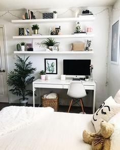 shelfie! ikea shelves, white bedroom, room inspo, teen girl, office goals, indie, minimalist, inspiration