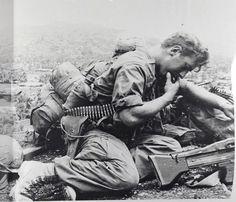 """1st Cav. Men take a break while patrolling Lao Valley, during operation """"Pershing"""", 1967. ~ Vietnam War"""