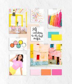 Bright, fun, feminine, confident, mood board for a lifestyle coach Moodboard Inspiration, Design Inspiration, Pop Art Design, Brand Board, Color Swatches, Social Media Design, Branding Design, Mood Boards, Benefit