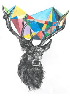 Stag Illustration // Drawing --  Contemporary wall art // Eco Print // Geometric // Ink & Watercolour on Etsy, $24.00