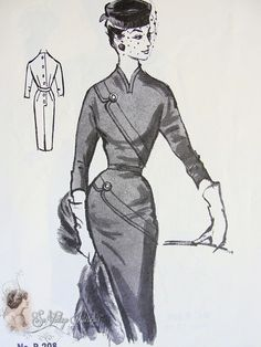 1950s Seductive Slim Diagonal Slanted Dress Pattern Beautiful Design Features Modes Royale D-96 Vintage Sewing Pattern Bust 34 FF