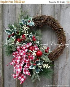 Christmas Wreath, Holiday Wreath, Country French Christmas, Farmhouse Holiday Wreath, Country Christmas Wreath, Holiday Door Wreath Hingham Holiday Gathering Wreath. Bright and eye-catching! Abundant long needle silk pine boughs, delicate frosted pine, holly berry branches and