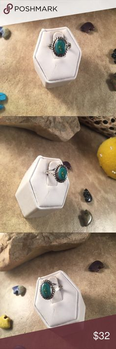 Vintage Navajo Turquoise & Sterling Ring Size 6 Authentic vintage Navajo Sterling Silver &  Turquoise ring size 6. This ring is in excellent vintage condition. The ring is just over 1/2 of an inch long and just over 3/8 of an inch wide.   Thank you for looking, please contact me with any questions. Jewelry Rings