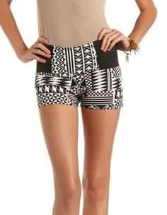 high waisted ponte aztec short - Charlotte Russe