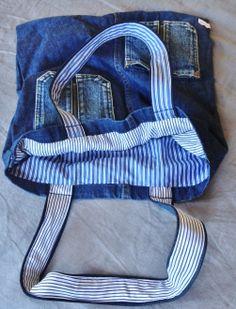 Bespoke making its way to new customer, we love stripy cotton fabric + denim what do you guys think? Denim Furniture, Only Jeans, Denim And Diamonds, Jean Purses, Denim Purse, Denim Ideas, Denim Crafts, Recycle Jeans, Recycled Denim