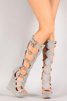 Thinking ahead > Liliana Mallika-45 Buckle Studded Gladiator Knee High Platform Wedge