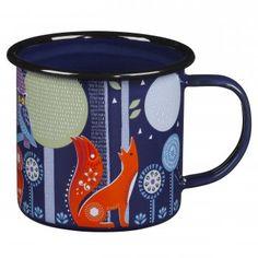 Wild & Wolf Folklore Night Blue Enamel Mugs : Set of 2