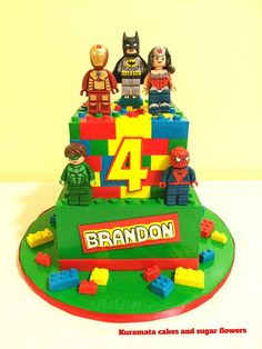 Super hero Lego birthday cake