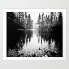 Forest Reflection Lake - Black And White - Nature Photography Mini Art Print by Cascadia - Without Stand - x Lake Tattoo, River Tattoo, Evergreen Tree Tattoo, Evergreen Trees, Monochrome Photography, Nature Photography, Natur Tattoos, Forest Tattoos, Mountain Tattoo