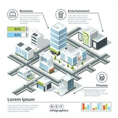Isometric 3d City Map by ONYXprj Isometric 3d city map. Infographic vector illustration. Dimensional plan with house building architecture, map structure city with