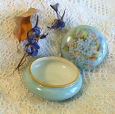 Limoges Blue Floral Trinket Dish Antique 1900  by PamsPawsJewelry