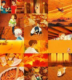 Colors of Studio Ghibli ~ Orange Hayao Miyazaki, Totoro Merchandise, Castle Movie, Japanese Animated Movies, Studio Ghibli Movies, Color Naranja, Film Inspiration, Old Anime, Howls Moving Castle