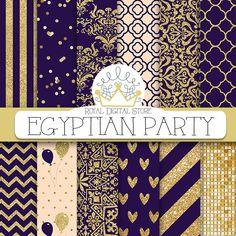"Purple digital paper: ""EGYPTIAN PARTY"" with purple background, purple scrapbook paper, dark purple and gold, glitter, chevron, gold #gold #damask #partysupplies #planner #summerdigitalkit #digitalpaper #scrapbookpaper #glitter"