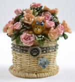 Boyds Bears Pinkie's Flower Basket With Rose McNibble - Resin Treasure Box