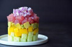 Ahi Tuna Stacks with Ginger-Lime Dressing