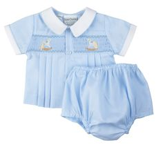Smocked Two Piece Outfit Diaper Set with Rocking Horse | Feltman Brothers