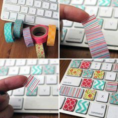 Such an amazing idea putting Washi tape on a computer keyboard. I love it!!!;)
