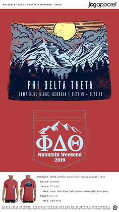 Phi Delta Theta Mountain Weekend Shirt | Fraternity Mountain Weekend | Greek Mountain Weekend #phideltatheta #phidelt #Mountain #Weekend #hand #drawn