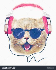 T-Shirt Graphics/Cute Cat Illustration/Watercolor Cat/Cat Poster ...