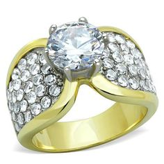 4.45 Ct Round Cut Champagne CZ Stainless Steel Engagement Ring Women/'s Size 5-10