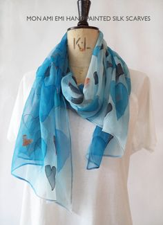 BLUE HEARTS WATERCOLOUR hand painted silk scarf/Royal Blue,Copper,Charcoal/Silk crinkle chiffon/Wearable Art-original/Sheer Light Silk Scarf by monamiemi on Etsy
