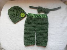 3pc  pant and hat set with bow tie. newborn by DesignsbyKieshia, $18.00