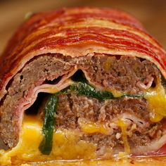 Bacon-wrapped Burger Roll Recipe by Tasty Speckmantel Burger Roll Rezept von Tasty Bacon Wrapped Burger, Proper Tasty, Beef Roll, Meat Rolls, Beef Bacon, Chicken Cordon Bleu, Ground Meat, Rolls Recipe, Ground Beef Recipes