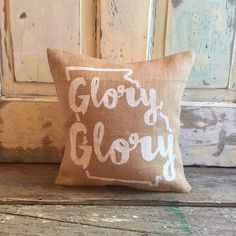 Glory, Glory pillow  CHOOSE YOUR OWN PAINT/FABRIC COMBO: < Specify color choices in notes section at checkout >  Pillow cover measures 15x15 with envelope closure. Hand painted with premium acrylic paint. . . . . . . . . . . . . . . . . . . . . . . . . . . . . . . . . . . . . . . . . . . . . . . . . Additional pillow inserts can be purchase thru the listing below:  https://www.etsy.com/listing/540845593/indoor-outdoor-pillow-insert-free?ref=shop_home_a...