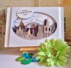 Handmade greeting card featuring a 3D scene of London, made using Xcut Build-a-scene dies.