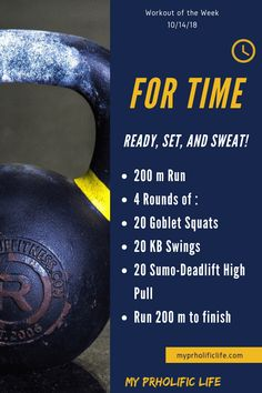 This workout of the week is a great cardio workout with the added weight benefit of kettle-bell and body weight movements. This workout of the week is a great cardio workout with the added weight benefit of kettle-bell and body weight movements. Hiit, Wods Crossfit, Crossfit Legs, 400 M, Wod Workout, Workout Motivation, Full Body Circuit Workout, All Body Workout, Boot Camp Workout
