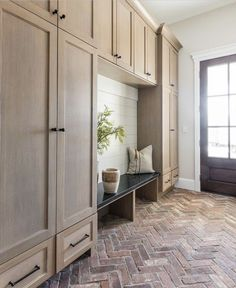 modern farmhouse Mudroom design with custom built in lockers, locker storage in mudroom ideas, hooks and bench in back foyer mudroom, mudroom storage, mudroom organization with shoe storage Mudroom Cabinets, Hallway Cabinet, Mudroom Laundry Room, Bench Mudroom, Mud Room Lockers, Entryway Bench, Hallway Shelf, Kitchen Cabinets, Built In Lockers
