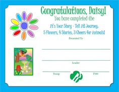 4 Story, Your Story, Girl Scout Daisy Activities, Planet Love, Daisy Girl Scouts, Award Certificates, Scouting, Troops, Congratulations