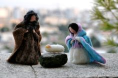 "You have seen this scene crafted in olive wood, ceramic, stone... I choose my favorite technique of needle felting to bring you the story of Nativity. ""Today in the town of David a Savior has been born to you; he is Messiah the Lord…"" Beautiful for your Christmas nature table. Joseph and Mary feature bendable arms, so they may be positioned to follow your imagination. The dolls measure approx 4-4.5 inches high.Them features bendable arms, so them may be positioned to follow your imagination…"