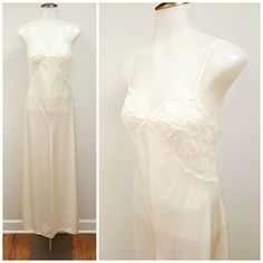 Vintage Lace Nightgown, White Miss Elaine Bridal Lace Full Length Nightgown, Low Open Back 70s Long Bias Cut Lace Night Gown Size S  Long and lovely! This gorgeous nightgown features...  -Floral lace bust that wraps to the lower back -Bias cut ribbed fabric -Not quite bridal white but not quite off white fabric. A subtle white. -Low, open back -Sleeveless with thin spaghetti straps -Rolled, stitched hem  Label: Miss Elaine Union Label  Materials: 100% Enkalure Nylon  Size Marked: S, but…