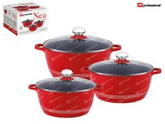 NEW & IMPROVED! NEW IN STOCK! Look out for our ceramic coated & induction ready NEA die-cast range. NEA Rossa - 3 casserole set in red, with ceramic coating and induction base, allowing for healthier cooking and better use of energy. Each comes with a tempered glass lid. PFOA free. Suitable for cooking on induction, gas, electric, halogen and glass ceramic cookers. Capacity & sizes: ø20cm - 2300ml / ø24cm - 3800ml / ø28cm - 6000ml