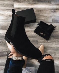 The Alicante Crepe Chelsea Boots ORO Exclusively Available ORO www.orolosangeles… The Alicante Crepe Chelsea Boots ORO Exclusively Available ORO www. Mens Shoes Boots, Mens Boots Fashion, Latest Mens Fashion, Shoe Boots, Men's Boots, Shoes Sneakers, Tan Chelsea Boots, Chelsea Shoes, Black Chelsea Boots Outfit