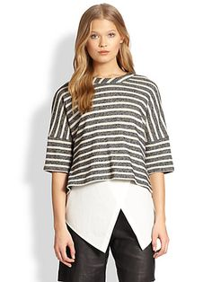 10 Crosby Derek Lam - Striped Tee & Asymmetrical Tank Combo Top - Saks.com